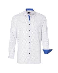 Fyren Poplin Wit Navy Dotted Overhemd